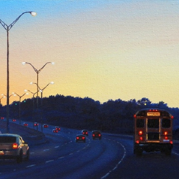 Pat Gabriel, Driving in Fort Worth, Oil on Canvas